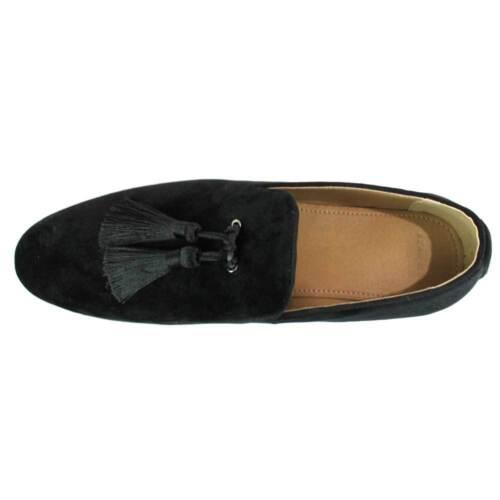 Velvet Slip On Loafers Handmade Tassel Modern Formal Mens Dress Shoes By AZAR