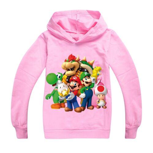 Kinder Sweatshirt Super Mario Jungen Mädchen Langarm Kapuzenpullover Pulli Top