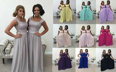 1 DRESS - 2 SHOULDER LACE CHIFFON BRIDESMAID DRESS WEDDING PROM MAXI CHARLOTTE