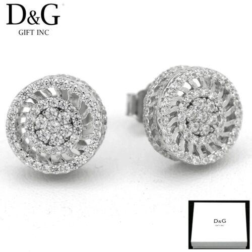 DG Men/'s Sterling-Silver 925 Brilliant CZ 12mm Round.Studs*Earring*Unisex Box