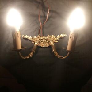 Applique-en-bronze-deux-lumieres-electrifiee-Bon-etat