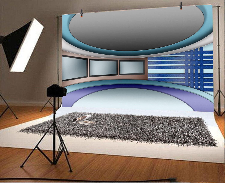 Virtual Tv News Studio Set Photo 10x6 5ft Background Photography Props Backdrop Ebay