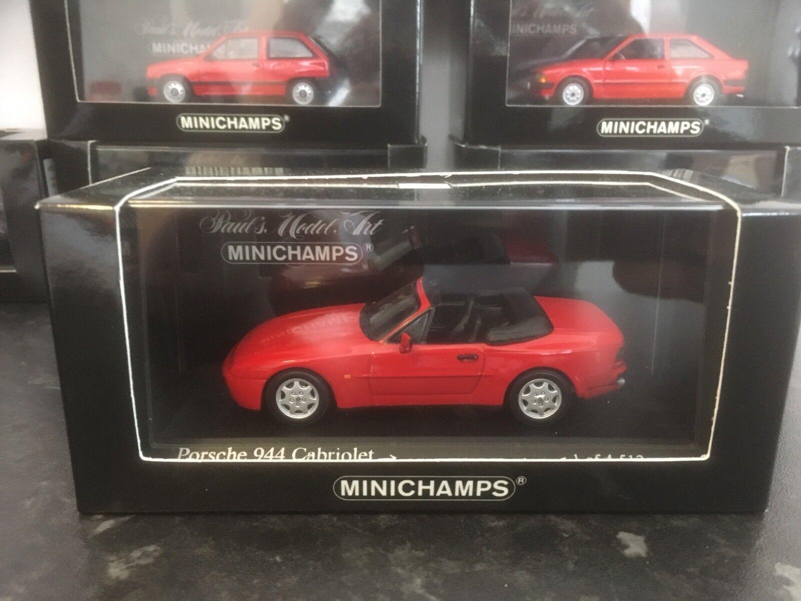 MINICHAMPS PORSCHE 944 CABRIOLET ROUGE 1991 1 43 En parfait état, dans sa boîte LTD ED