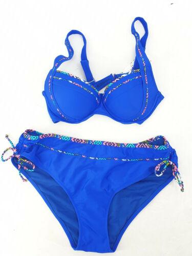 Bikini 4 Farben kontrastfarbiger Einsatz Gr.38-46