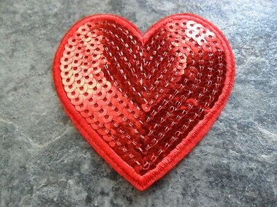 Aufbügler  Applikation  Aufnäher  Herz mit Pailletten  70 mm  7 cm -  Farbwahl