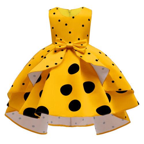 Flower Girls Kid Polka Dot Vintage Tutu Dress Wedding Bridesmaid Christmas Gown