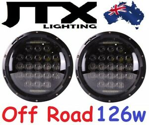 "JTX 7"" Off Road LED Headlights DRL 126w for Toyota Landcruiser 75 78 79 series"