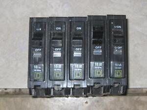 Lot of 10 SQUARE D QOB120 CIRCUIT BREAKER 20 AMP 1 POLE QOB bolt on Series