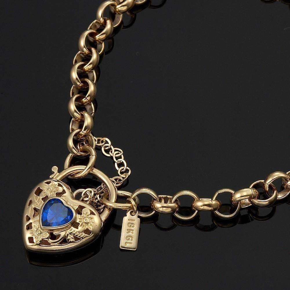 18K Solid Belcher Yellow gold Bracelet Filigree Heart Pendant Sapphire Gem GL