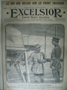 WW1-N-1752-ROI-DES-BELGES-AVIATEUR-VISITE-CANTONNEMENT-AU-FRONT-EXCELSIOR-1915