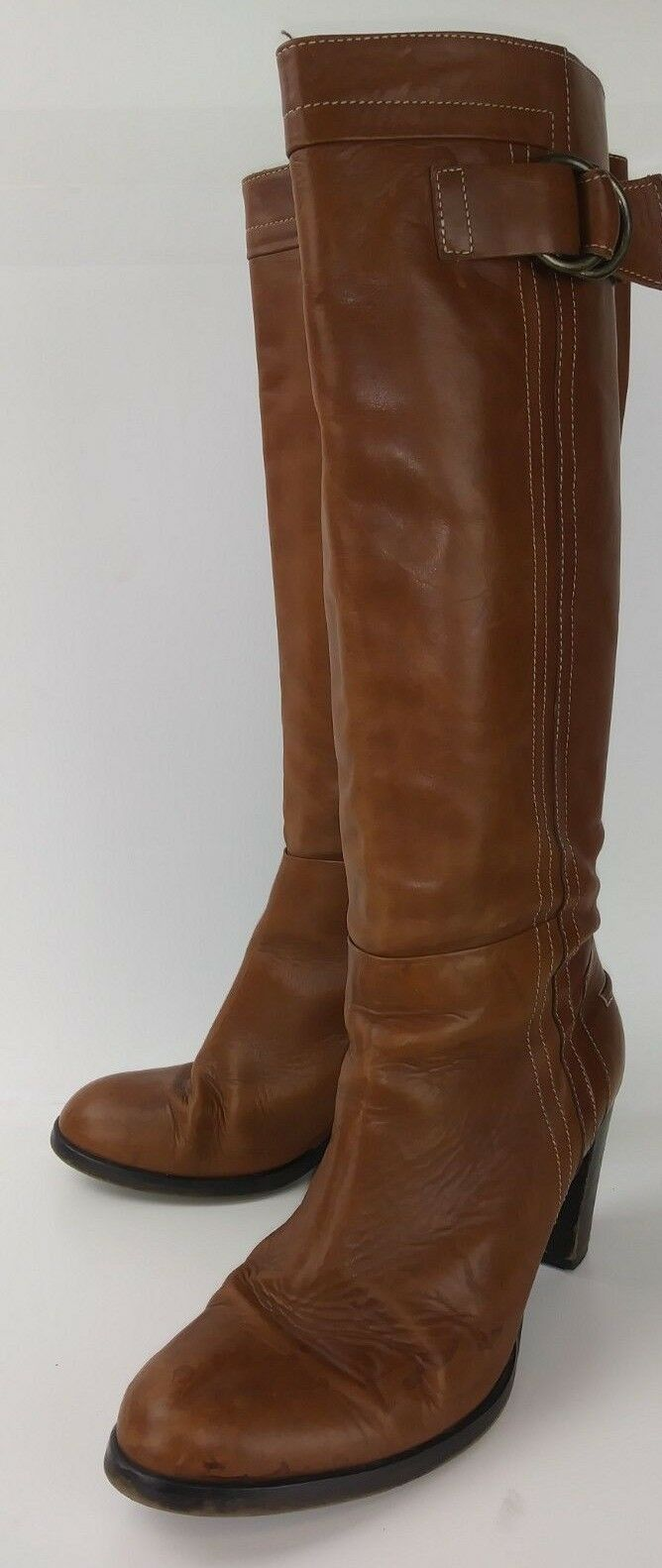 Womens 2009006 Boots Tall US 9 Brown Brown Brown Leather Casual Heels  2780 acf606