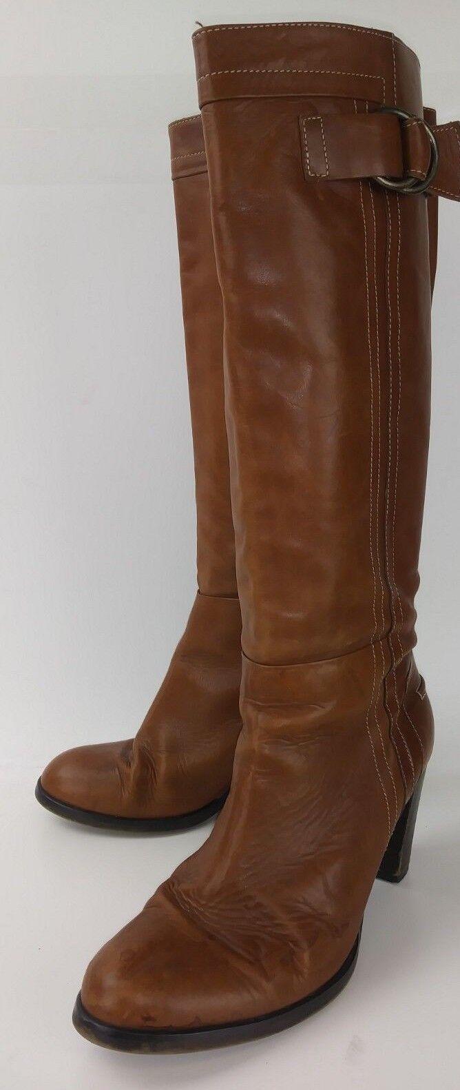 Damenschuhe 2009006 Stiefel Tall US 9 Braun Leder Casual Heels  2780