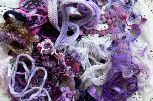 EMBELLISHMENT FIBRE Pk Mix appx 1//2 Mtr Ea over 30 PURPLE Colour Njoyfull Crafts