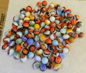 10696m-Vintage-Group-or-Bulk-Lot-of-100-Vitro-Agate-Black-Banded-Marbles