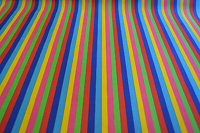 Carnival Rainbow 12mm Stripe Polycotton Fabric - 2 Colourways *FREE P&P*