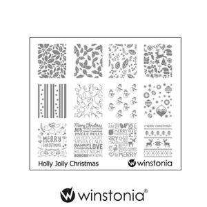 Winstonia-Nail-Art-Stamping-Image-Plate-HOLLY-JOLLY-CHRISTMAS-Holiday-Winter-Fun
