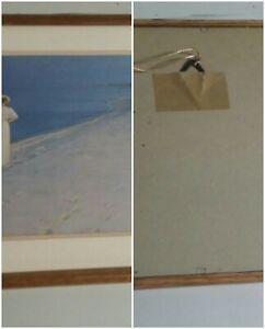 Wall-Hanging-Artwork-Women-at-the-Beach-17x13-Glass-Wood-Framed