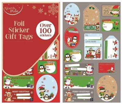 ** Noël Mignon Design Feuille Autocollant Étiquettes-cadeaux plus de 100 autocollants de Noël neuf **