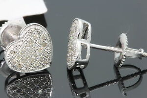 .23 CT MENS/WOMENS 10mm 100% GENUINE DIAMONDS WHITE GOLD FINISH EARRINGS STUDS