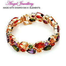 18k Gold Crystal Bracelet With Swarovski Elements Colourful Crystal Bangle