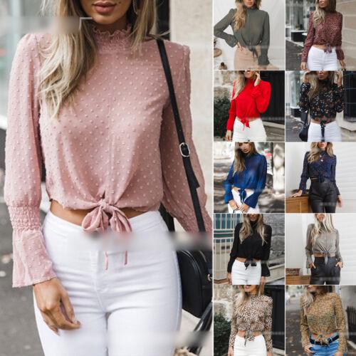 Women Chiffon High Neck Crop Tops Lady Tie Front Long Sleeve T Shirt Blouse UK