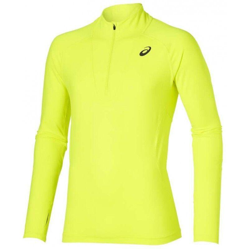 Asics Jersey Half Zip Long Sleeve Mens Running Top - Yellow Running Jogging GYM