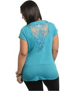 Women-039-s-Plus-Blouse-Top-Shirt-Cowl-Crochet-Applique-back-Teal-1X-2X-3X