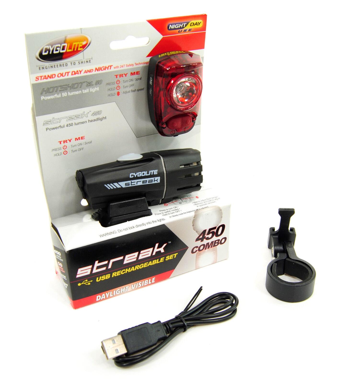 Cygolite Streak 450 Bicycle Headlight and Hotshot SL  50 Taillight Set  good price