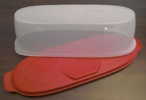 Tupperware-A-199-WurstTheke-Wurst-Theke-Behaelter-fuer-Salami-Rot-Weiss-Neu-OVP
