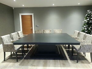 Details About 10 12 14 Seater Square Dining Table To Colour Large Single Pedistal Bespoke