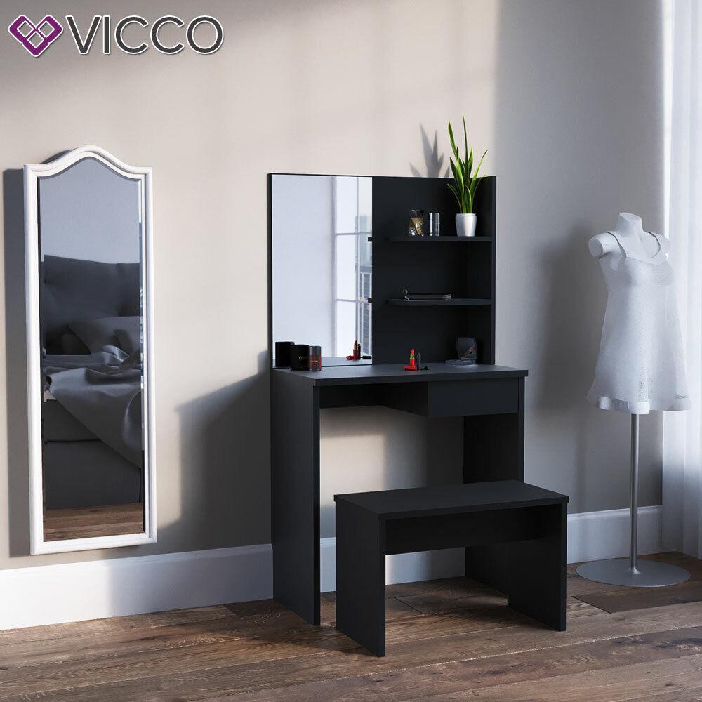 Vicco Mesa tocador Dekos Mesa maquillaje Espejo Negro + banco