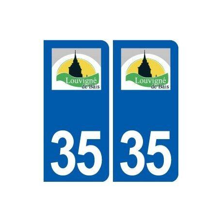 35 Louvigné-de-Bais logo autocollant plaque stickers ville arrondis