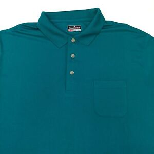 Grand Slam Performance Polo Shirt Men's 2XLT XXLT Short Sleeve Blue Polyester