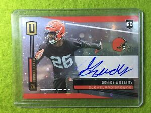 GREEDY-WILLIAMS-AUTO-ROOKIE-CARD-PRIZM-RC-AUTOGRAPH-2019-Unparalleled-COSMOS-SP