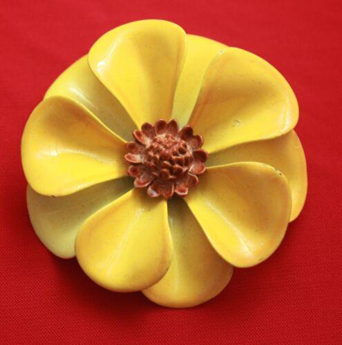 Vintage Yellow Pansy Flower Large Brooch Pin - En… - image 1