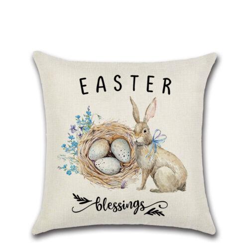 18 Spring Flowers Easter Linen Throw Pillow Case Cushion Cover Home Sofa Decor