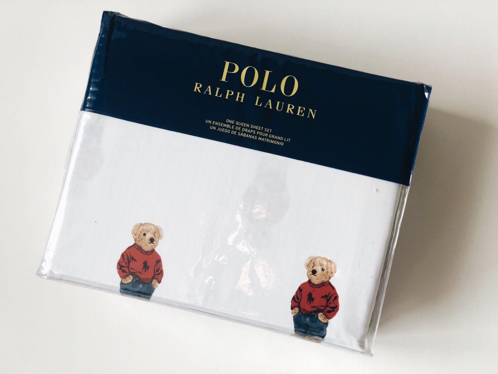 POLO RALPH LAUREN [FULL SHEET] BOY POLO BEAR 4 PIECE SET WHITE PILLOW CASE NEW