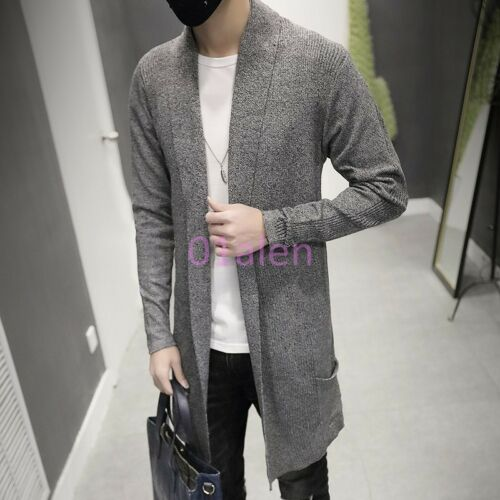 HOT Mens Cardigan Slim Fit  Wool Mid Long Coats Knitted Trench Spring Outwears