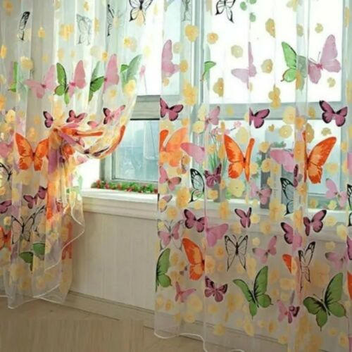 Flower Butterfly Voile Net Curtain Sheer Window Door Divider Screens HR5