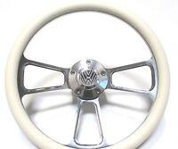 Volkswagen Steering Wheel White Vinyl And Polished Billet Alumium - Vw Horn