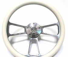 Volkswagen Steering Wheel White Vinyl and Polished Billet Alumium - VW Horn