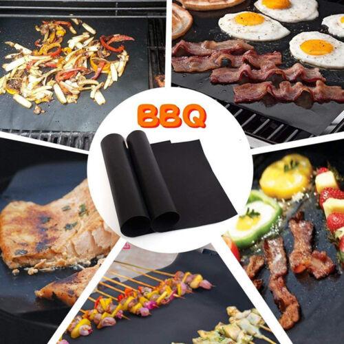 3//5 Pcs BBQ Grill Mat Non-Stick Bake Grilling Mats Barbecue Pad Teflon Fiber
