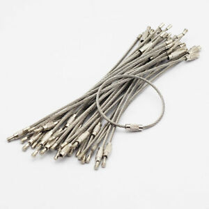 100pcs-Stainless-Steel-Wire-Cable-Keychain-Key-Ring-Chain-With-Screw-Lock