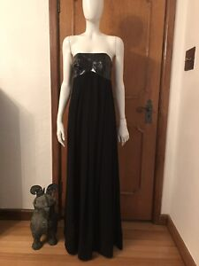 pinko evening party dress gown black maxi silk chiffon pvc