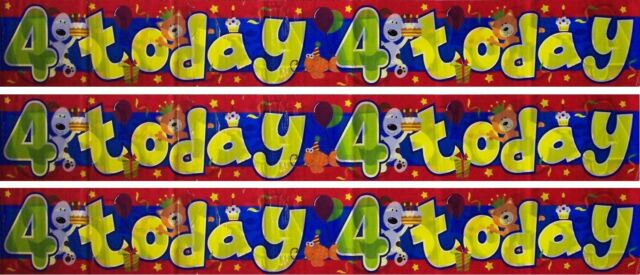 Boy Girl HAPPY 4th BIRTHDAY 4 Today Cute Dog Party Plastic Banner Decoration 9Ft
