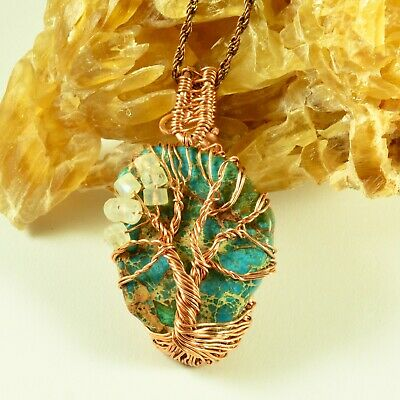 Wire Wrapped Moonstone Necklace Pendant with TourmalineCopper Wire Wrapped Necklacecopper Wire Wrapped PendantCopper Wire Jewelry