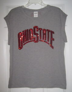 85b310e2 NWT VICTORIA'S SECRET PINK OHIO STATE BUCKEYES SEQUIN BLING CUFFED T ...