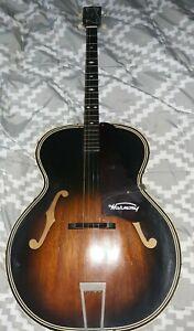 Vintage Antique HARMONY Archtop Brown Sunburst Tenor Acoustic 4 String Guitar