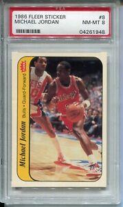 1986-Fleer-Basketball-Sticker-8-Michael-Jordan-Rookie-Card-Graded-PSA-NM-Mint-8