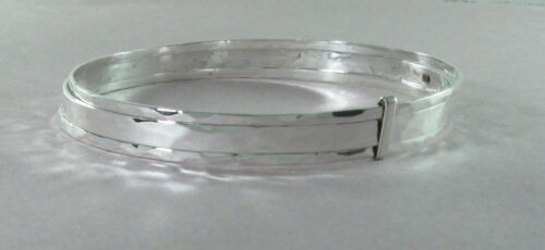 """925 sterling silver large triple bangle with hammered finish 1//4/"""" wide"""
